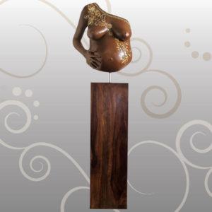 Babybauch-Gipsabdruck-Saeule-Gold-Orient-Design