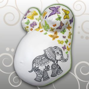 Zentangle Elefant, Schmetterlinge Babybauch Ivana Irmscher Be happy Gipsabdruck Fürth