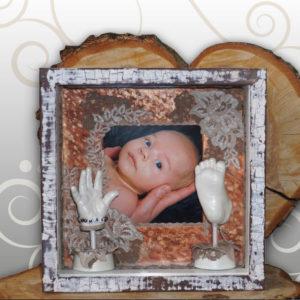 Bilderrahmen-vintage-Look-Handabdruck-Babyfussabdruck-Max