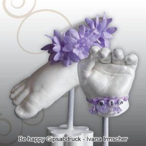 Handabdruck-Fußabdruck-Baby-Saeule-mit-Schmuck