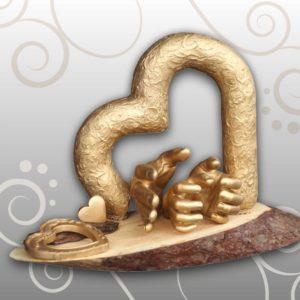 Das goldene Herzwerk, Holzplatte, Handabdruck Kinder & Mama, Ivana Irmscher Be happy Gipsabdruck Fürth