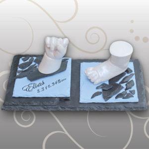 Handabdruck-Babyfussabdruck-Babyblau-Design