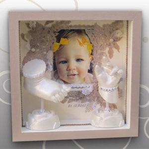 Handabdruck-Babyfussabdruck-Spitze-Perlen-Design