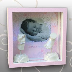 Handabdruck-Babyfussabdruck-3D-Bilderrahmen