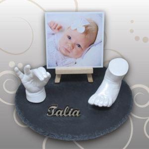 Handabdruck-Fussabdruck-Baby-Schiefferplatte