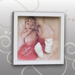 Handabdruck-Fussabdruck-Baby-3D-Bilderrahmen