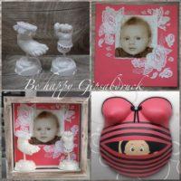 Handabdruck-Fussabdruck-Baby-Vintage-Look