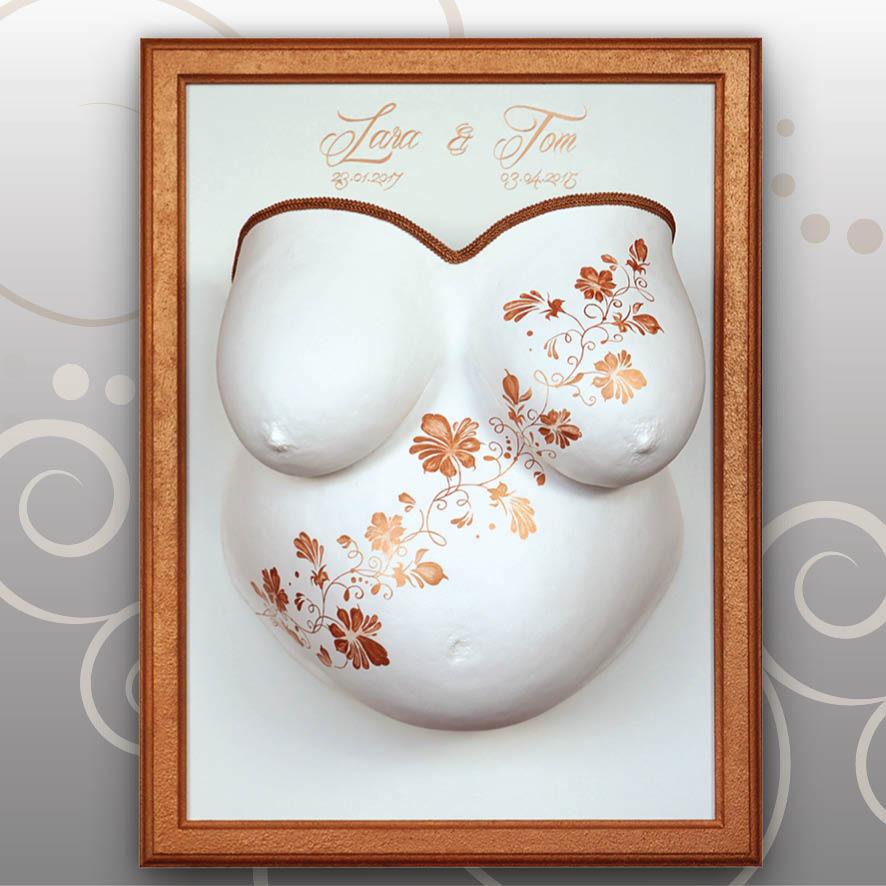 Babybauch-Gipsabdruck-Gold-Bronze-Blumenranken