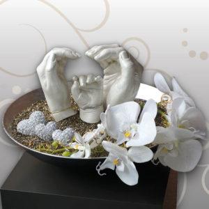 Handabdruck-Familie-Orchideen-Blumen
