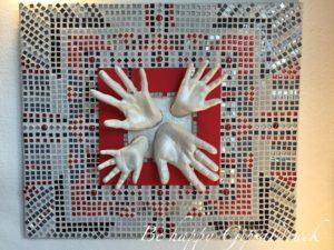 3D-Handabdruck-Familie-Mosaik-Design