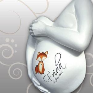 Babybauch-Gipsabdruck-Ausguss-Fuchs-Motiv