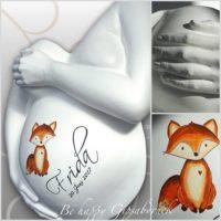 Babybauch-Gipsabdruck-Fuchs-Motiv