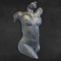 Frau-Akt-Skulptur-Torso-Metall-Optik-