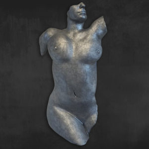 Skulptur-Torso-Metall-Silber-Optik