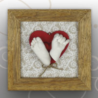 Handabdruck-Babyfussabdruck Natur Rahmen