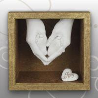 Handabdruck Mama- Babyfussabdruck Herzform