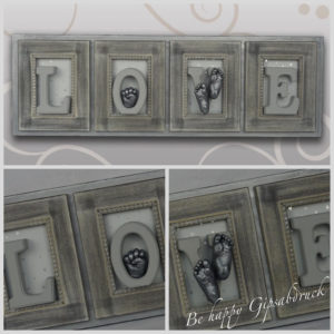 Handabdruck & Babyfussabdruck Love silber Design