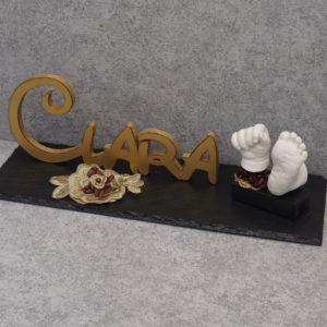 Handabdruck - Babyfußabdruck Clara Holzbuchstaben