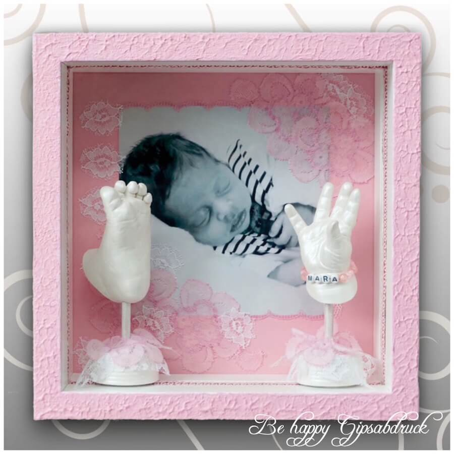 Handabdruck & Fußabdruck Baby im rosa Bilderrahmen - Be happy ...