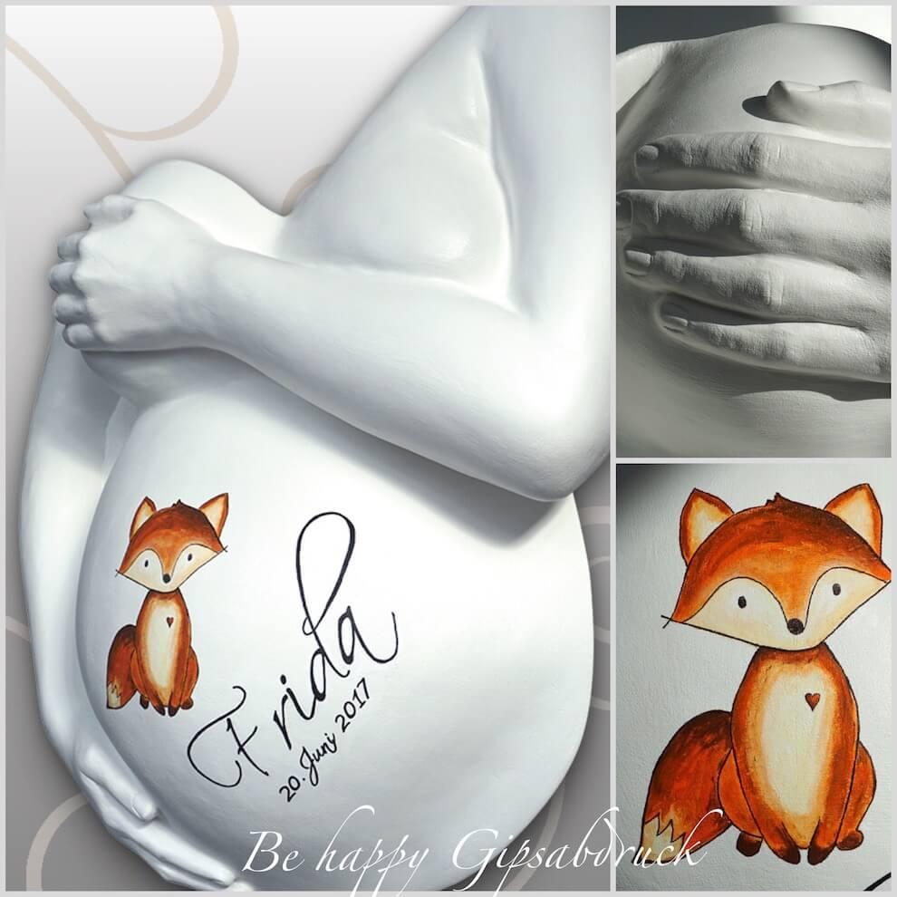 Babybauch Gipsabdruck Mit Fuchs Design Be Happy Gipsabdruck